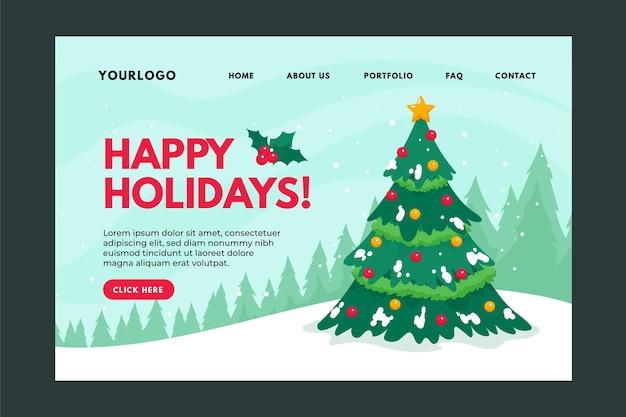 手描きのクリスマスのランディングページ