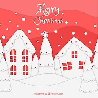 손으로 그린 크리스마스 풍경 배경