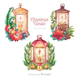 Hand drawn christmas lantern collection