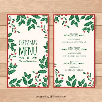 Hand drawn christmas leaves menu