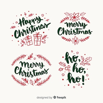 Hand drawn christmas lettering badge collection