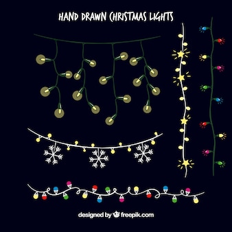 Hand drawn christmas lights on a black background