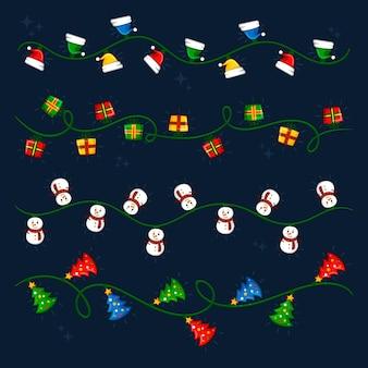 Hand drawn christmas lights collection
