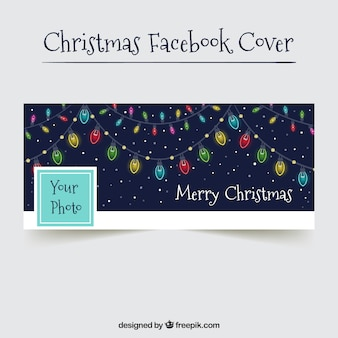 Hand drawn christmas lights cover for facebook