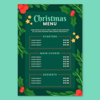 手描きのクリスマスメニューテンプレート