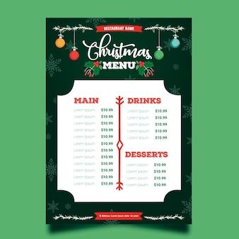손으로 그린 크리스마스 메뉴 템플릿
