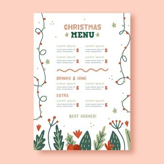 Hand drawn christmas menu template