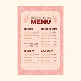 Modello di menu di natale disegnato a mano