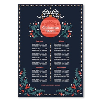 Hand drawn christmas menu template