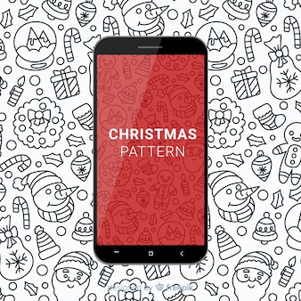 Hand drawn christmas mobile pattern