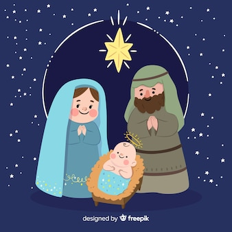 Hand drawn christmas nativity scene
