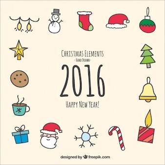 Disegnato a mano di natale e nuovi elementi anno