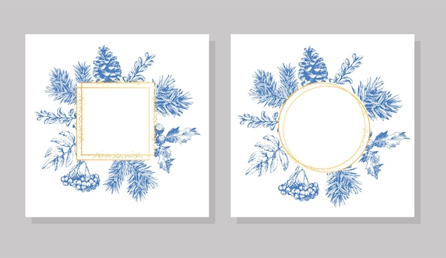 Hand drawn christmas and new year invitation card. hand drawn vector illustration of retro wreath on light background. winter holiday collection