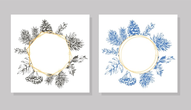 Hand drawn christmas and new year invitation card hand drawn vector illustration of retro wreath on ...
