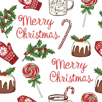 Hand drawn christmas and new year seamless pattern. peppermint lollipops, mug with hot chocolate, traditional christmas pudding