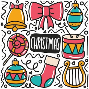 Hand drawn christmas party doodle set with icons and design elements