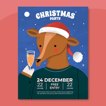 Hand drawn christmas party flyer template with photo