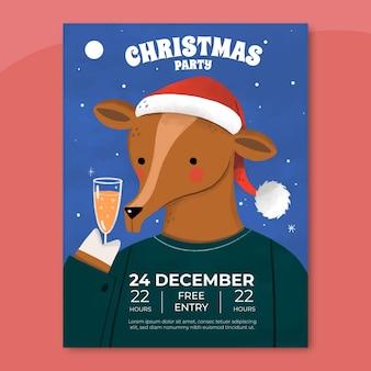 写真と手描きのクリスマスパーティーチラシテンプレート
