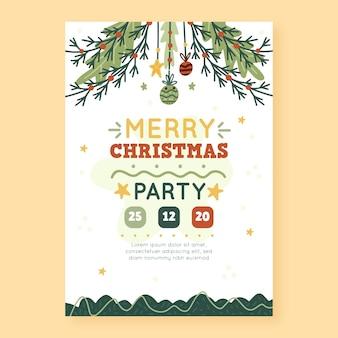Ручной обращается шаблон флаера рождественской вечеринки
