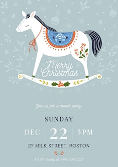 Hand drawn christmas party flyer template