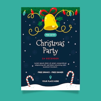 Hand drawn christmas party poster template