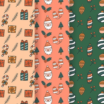 Hand drawn christmas pattern collection