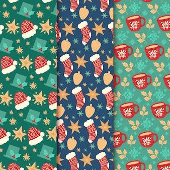 Коллекция рисованной рождественских узоров