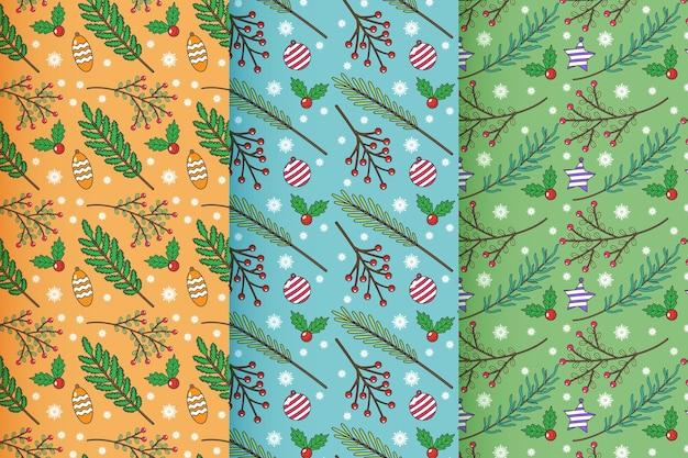手描きのクリスマスパターンコレクション