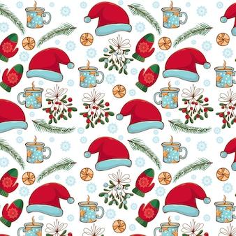 手描きのクリスマスパターンデザイン