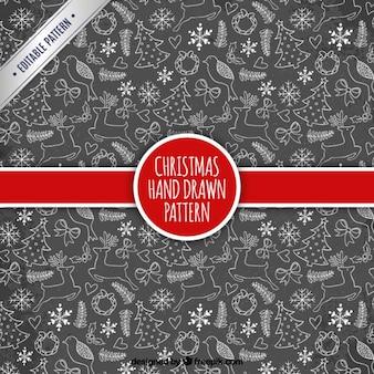 칠판 스타일에 손으로 그린 크리스마스 패턴