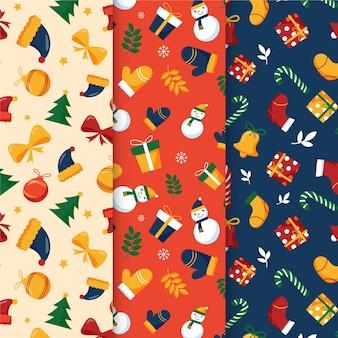 Pacchetto di modelli natalizi disegnati a mano
