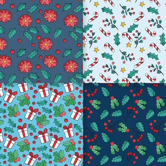 Hand drawn christmas pattern set