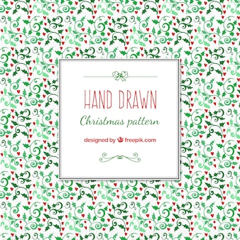 Hand drawn christmas pattern with christmas motivs