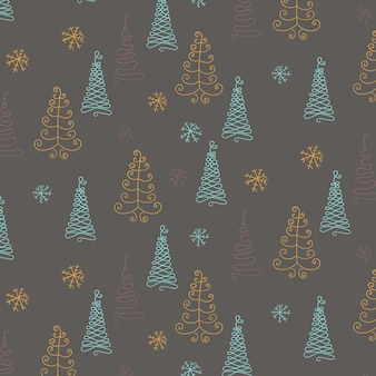 Hand drawn christmas pattern with fir trees and snowflakes. new year. doodle illustration