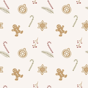 Hand drawn christmas pattern Premium Vector