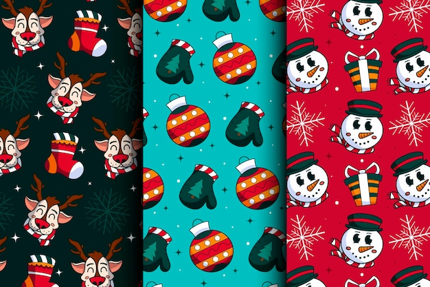 Hand drawn christmas patterns collection