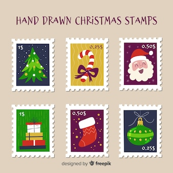 Hand drawn christmas post stamps