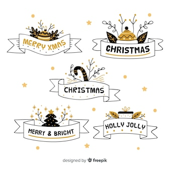 Hand drawn christmas ribbon collection on white background
