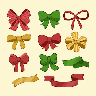 Hand drawn christmas ribbon collection