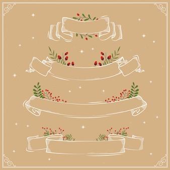 Hand drawn christmas ribbon collection
