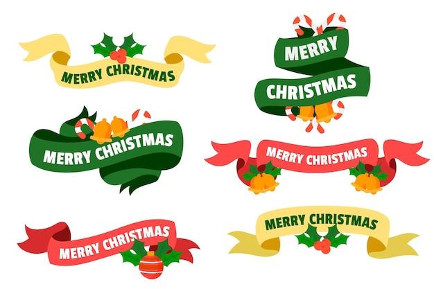Collezione di nastri natalizi disegnati a mano