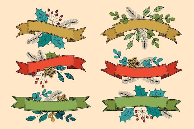 Коллекция рисованной рождественской ленты