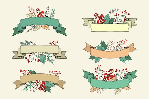손으로 그린 크리스마스 리본 컬렉션