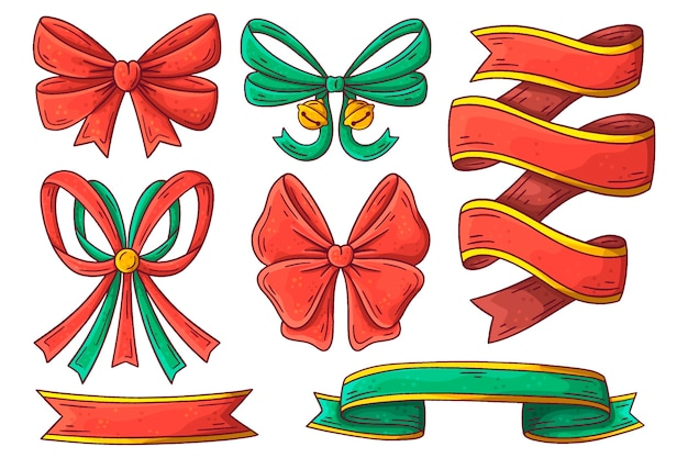 Hand drawn christmas ribbon pack