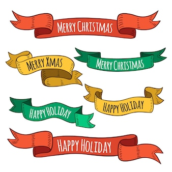 Hand drawn christmas ribbon set