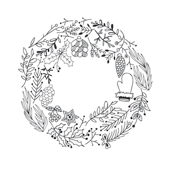 Hand drawn christmas round wreath with tree branches holly berry cones star and mitten illustration