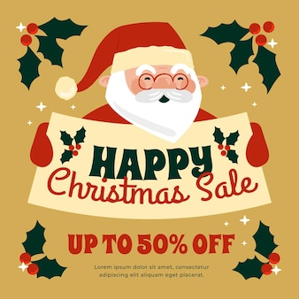 Hand drawn christmas sale banner with santa claus