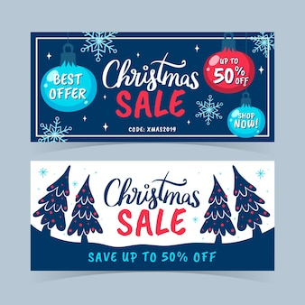 Hand drawn christmas sale banners template