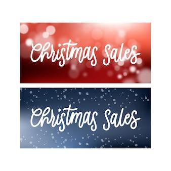 Hand drawn christmas sale banners template