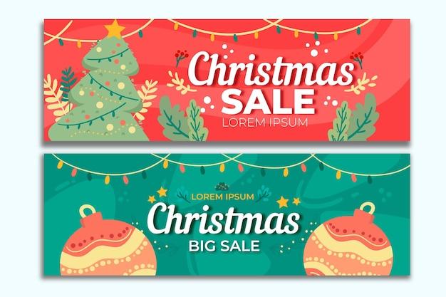 손으로 그린 크리스마스 판매 배너 서식 파일